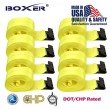 "(8) Boxer DOT 4"" X 30' Winch Straps w/Flat Hook Flatbed Truck Trailer Tie Down 5400 LB US Made"