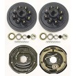 "Heavy Duty Trailer 8 on 6.5"" B.C. Hub Drum Kits w/ 9/16"" Studs with 12""x2"" Electric Brakes for"