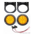 "(2) Amber 10 LED 4"" Round Trailer Truck Tail Light Surface Mounting Bracket"