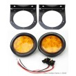 "(2) Amber 4"" Round LED Truck Trailer Brake Stop Turn Tail Light w/Mounting Bracket"