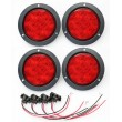 "Set of 4 Red 4"" Round 10 LED Trailer Lights Surface Mount"